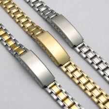 Ladies Stainless Steel Watch Bracelet Folding Catch 3 Colours 10mm - 14mm C090