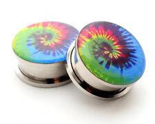 Pair of Screw on Tie Dye Picture Plugs gauges