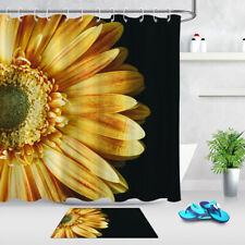 Golden Sunflower Black Background Fabric Shower Curtain Bathroom Accessory Sets