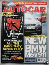 Autocar 26/4/2005 featuring BMW M6, Bentley Continental, Caterham, Porsche