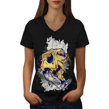 Head Animal Art Skull Women V-Neck T-shirt NEW | Wellcoda