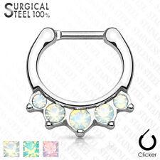 Piercing de Nariz - 100% Acero Quirúrgico Pendiente septum Ópalo Cristal #358