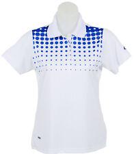 Women's White and Blue Spot Polo Short Sleeve Golf T-Shirt