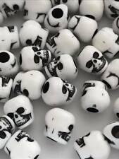 20pcs Black white skull beads 10x9mm plastic acrylic 4mm hole pony beads