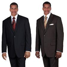 Men's Elegant Suit 70% Wool Super 100'S Flat Front Pants Back Center Vents 702wk