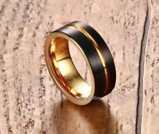 Tungsten Round 8mm 18k Gold Lined Men Wedding Band Brushed Finish Sizes 10,11,12