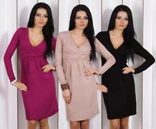 Abendkleid Tunika Mini Kleid überlappender V-Ausschnitt 6883