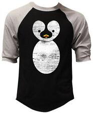 Men's Cute Cartoon Penguin Black Baseball Raglan T-Shirt Funny Animals Gift Tee