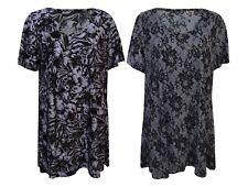 New Women Ladies Crinkle Print Short Sleeve Smock Scoop Neck Plus Size 14-28