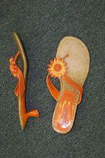 womens orange strappy flowered slip on heels shoes size 10 1/2