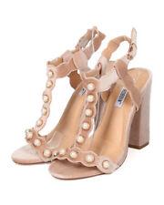 New Women Cape Robbin Ekko-2 Velvet Faux Pearl Scalloped Block Heel Sandal