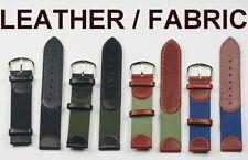 Cuero Y Tela mezcla de correas de reloj 18 mm 20 mm negro, marrón y verde para hombre Nylon Diseño