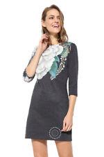 Desigual Black Lace Pichi ML Dress Contrast Sleeves 34-46 UK 6-18 RRP �84