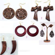 African RED wood earrings Tooth design cross jewel Leaf & big round earring