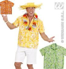 Chemise hawaïenne, Manches Courtes, hibiscus, Fête à thème jaune,vert,orange