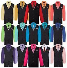 Boys Formal Vest Set Shirt Tie Pants Pinstripe Wedding Sui Kids Size 5-7  8 - 20