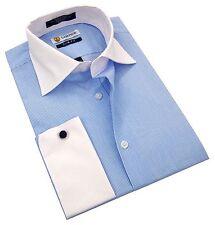Labiyeur Slim Fit Blue White Pinstripe Contrasted Collar French Cuff Dress Shirt