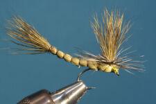Fliegentom Trockenfliege - 3 Stück olive Parachute Maifliege mit Extended Body