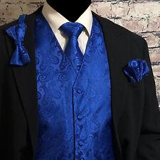 ROYAL BLUE Paisley Tuxedo Dress Vest Waistcoat & Neck tie & Bowtie & Hanky SET