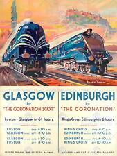 87225 RAIL TRAIN GLASGOW EDINBURGH SCOTLAND TRAN Decor WALL PRINT POSTER CA