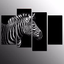 Animal Canvas Art Print Poster Zebra Wall Decoration Art Painting Picture-4pcs