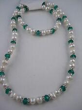 Echt Süsswasser Perlen Set Kette und Armband mit Glasperlen Farbe wählbar