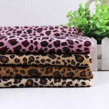 Leopard Print Flannelette Fabric Faux Fur Cotton Upholstery Crafts Coat Material