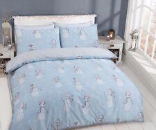 Snowman & Flake Reversible Duvet Quilt Cover & Pillowcase Printed Design Set