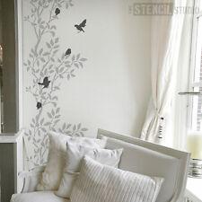 Moineaux et Branche Réutilisable Décor Maison Grand Pochoir Mural