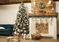 Wooden House Room Xmas Tree Fireplace 10x8FT Vinyl Studio Backdrop Background LB