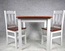 Esstisch Tischgruppe Essgruppe Set mit 2 Stühle weiß Land Massiv Holz Neu