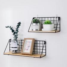 Metal & Wood Wall Shelf Industrial Modern Storage Shelf Hallway Home Office