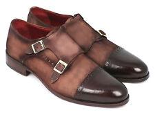 Zapatos De Vestir Paul Parkman Para Hombres Doble monkstrap captoe-Marrón/Beige Gamuza UPP