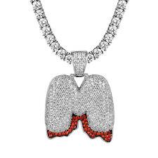 Custom Bubble Blood Drip M Letter Pendant 925 Silver Tennis Necklace