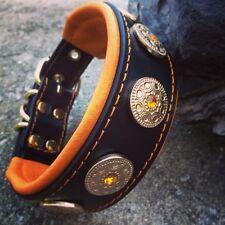 Bestia genuine leather dog collar. S - XL size, French bulldog design. hand made