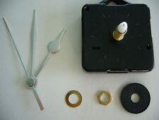 QUARTZ CLOCK MOVEMENT LONG SPINDLE 65mm SILVER HANDS