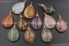 Natural Gemstones Tree Life Drop Reiki Chakra Healing Pendant Beads Rose Gold