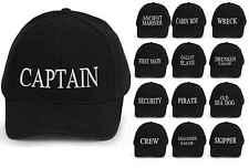 Captain Baseball Cap Embroidered Cotton Mens Women Various logos black white