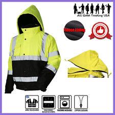 Hi Vis Insulated Safety Bomber Reflective Jacket Coat Road Work Fleece Lining JO