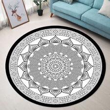Black and White Geometric Patterns Mandala Area Rugs Living Room Round Floor Mat