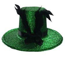 Unisex Green Sparkle Glitter Hat with Clips Adult Burlesque Headpiece Irish Hat