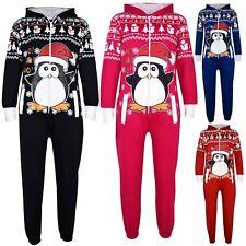 Kids Girls Boys Novelty Christmas Penguin Fleece A2Z Onesie One Piece Jumpsuit