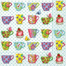 * Carola PABST * 20 Napkins * Napkins technology * Teacups * Colourful TEACUPS *