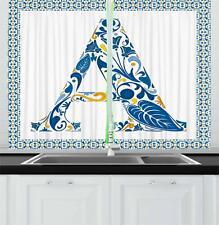 """Portuguese Letters Kitchen Curtains 2 Panel Set Window Drapes 55"""" X 39"""""""