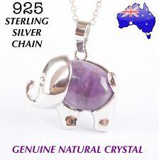 Elephant Genuine Crystal Quartz Natural Stone Pendant 925 Sterling Necklace Gift