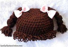 Cabbage Patch Kid Crochet Hat Wig  DK-BROWN Pigtail Braids Infant Toddler Adult