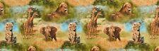 Wild Animals Nature Studies Jungle Safari Quilting Craft Cotton Fabric Blend