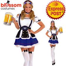 K396 Blue Oktoberfest Wench Fancy Dress Dirndl German Bavarian Beer Girl Costume