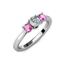 Diamond & Pink Sapphire Women 3 Stone Engagement Ring 1.03 cttw 14K Gold JP:8902