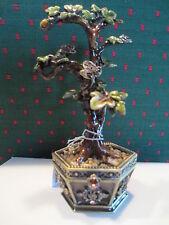 Bonsai Golden Tree ~ Bejeweled Enamel Trinket Box With Austrian Crystals 3393